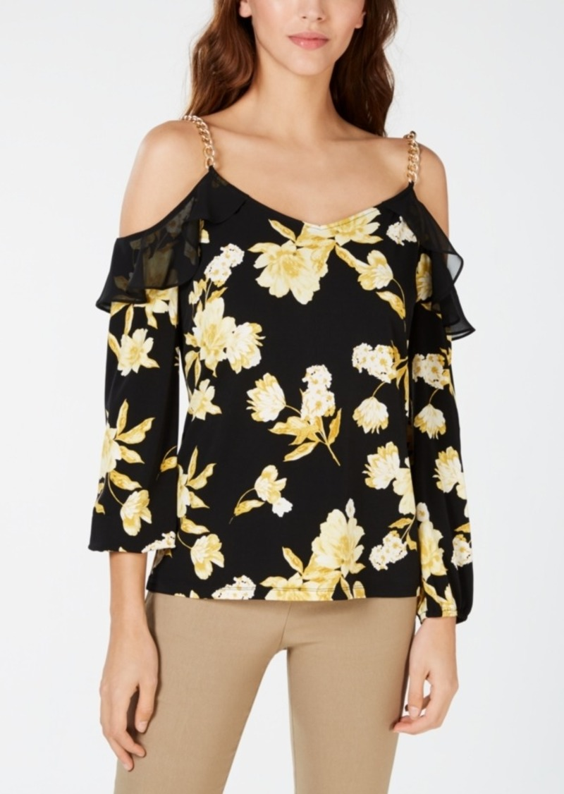 INC International Concepts Inc Cold-Shoulder Ruffle Top, Created for Macy's