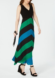 INC International Concepts I.n.c. Colorblocked Chevron-Stripe Maxi Dress, Created for Macy's
