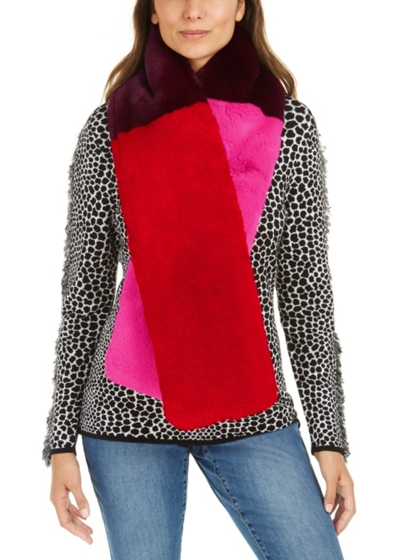 INC International Concepts Inc Colorblocked Faux-Fur Muffler Scarf, Created For Macy's