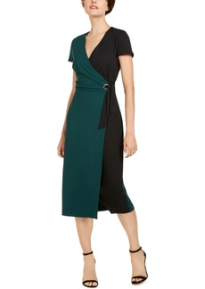 INC International Concepts Inc Colorblocked Faux-Wrap Dress, Created for Macy's