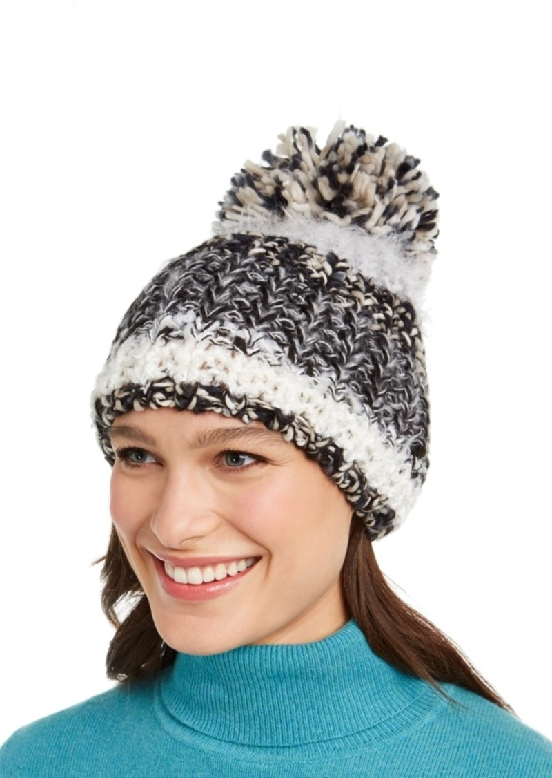 INC International Concepts Inc Colorblocked Mega-Pom Beanie, Created for Macy's