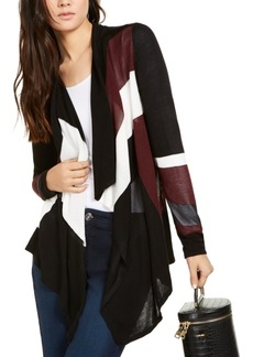 INC International Concepts Inc Colorblocked Waterfall Cardigan, Created for Macy's
