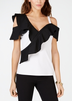 INC International Concepts Inc Colorblocked-Ruffle Cold-Shoulder Top, Created for Macy's
