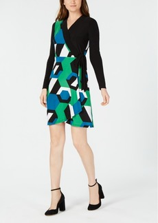 INC International Concepts I.n.c. Petite Geometric Colorblocked Wrap Dress, Created for Macy's