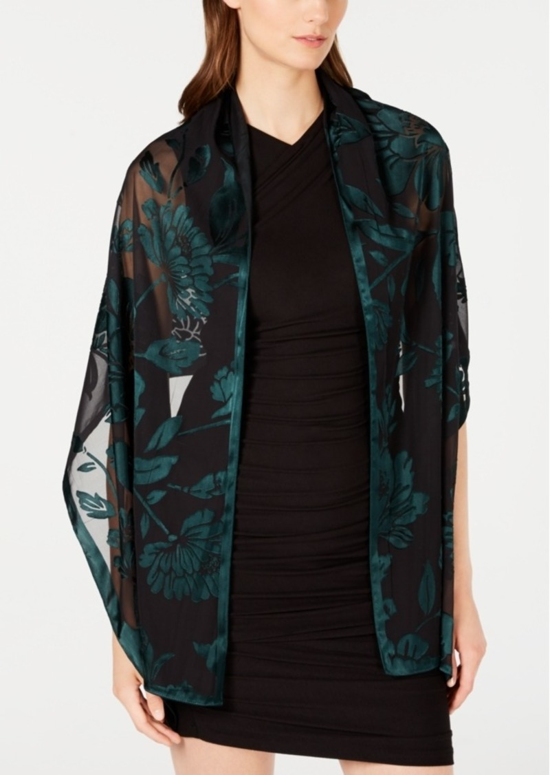 INC International Concepts Inc Contrast Floral Burnout Wrap, Created for Macy's