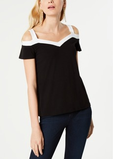 INC International Concepts Inc Contrast-Trim Cold-Shoulder Top, Created for Macy's