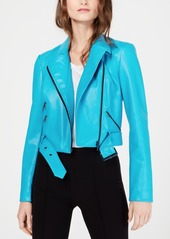 INC International Concepts I.n.c. Contrast-Zip Faux-Leather Moto Jacket, Created for Macy's