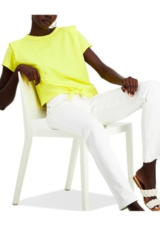 INC International Concepts Inc Cotton Bold Shoulder Tie-Front Top, Created for Macy's