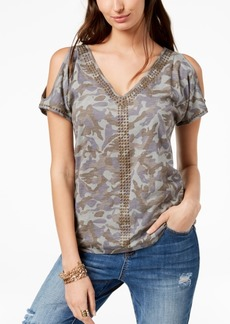 INC International Concepts I.n.c. Cotton Camouflage Cold-Shoulder T-Shirt, Created for Macy's