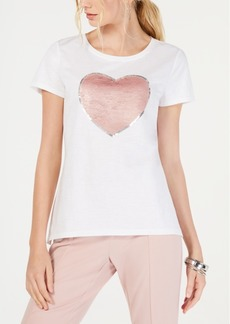 INC International Concepts Inc Reversible Sequin Heart T-Shirt, Created for Macy's