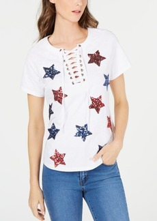 INC International Concepts Inc Cotton Sequin Star Lace-Up T-Shirt, Created for Macy's