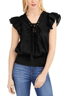 INC International Concepts Inc Cotton Tie-Front Ruffle-Sleeve Top, Created for Macy's