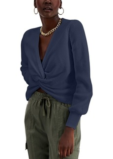 INC International Concepts Inc Cotton Twist-Front Sweater, Created for Macy's