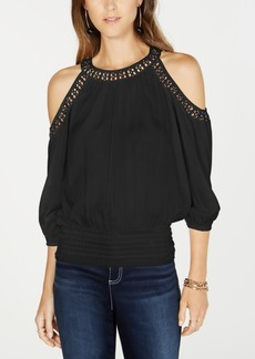 INC International Concepts Inc Crochet-Trim Cold-Shoulder Top, Created for Macy's