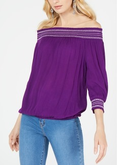 INC International Concepts I.n.c. Crochet-Trim Off-The-Shoulder Top, Created for Macy's