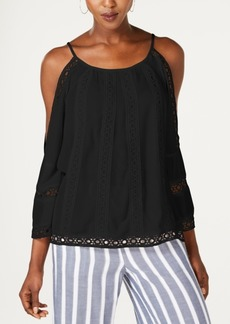 INC International Concepts I.n.c. Crocheted Cold-Shoulder Peasant Top, Created for Macy's
