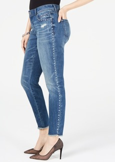 INC International Concepts Inc Curvy-Fit Studded Frayed-Hem Skinny Jeans, Created for Macy's