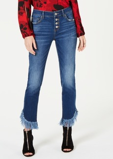 INC International Concepts Inc Curvy Fringe-Hem Button-Front Straight-Leg Jeans, Created for Macy's