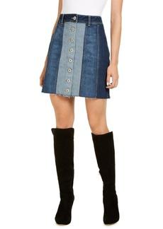 INC International Concepts Inc Denim Patchwork Mini Skirt, Created for Macy's