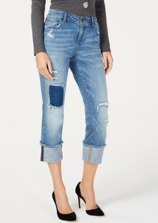 INC International Concepts I.n.c. Destructed-Cuff Cropped Skinny Jeans, Created for Macy's