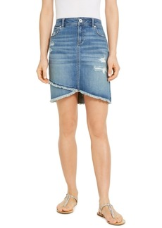 INC International Concepts Inc Destructed Fray-Trim Crossover-Hem Denim Skirt, Created for Macy's