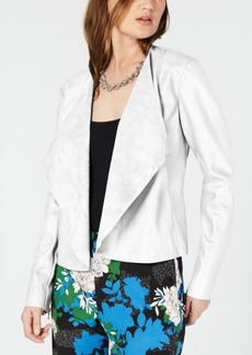 INC International Concepts I.n.c. Draped Front Faux-Leather Jacket, Created for Macy's