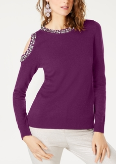 INC International Concepts I.n.c. Embellished Cold-Shoulder Sweater, Created for Macy's