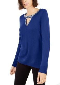 INC International Concepts Inc Embellished Keyhole Sweater, Created For Macy's