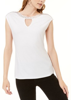 INC International Concepts Inc Embellished Keyhole T-Shirt, Created for Macy's