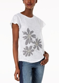 INC International Concepts I.n.c. Embellished Mixed-Media Top, Created for Macy's