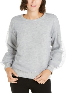 INC International Concepts Inc Embellished-Overlay Sweater, Created For Macy's