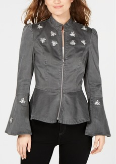 INC International Concepts I.n.c. Petite Rhinestone-Embellished Peplum Jacket, Created for Macy's