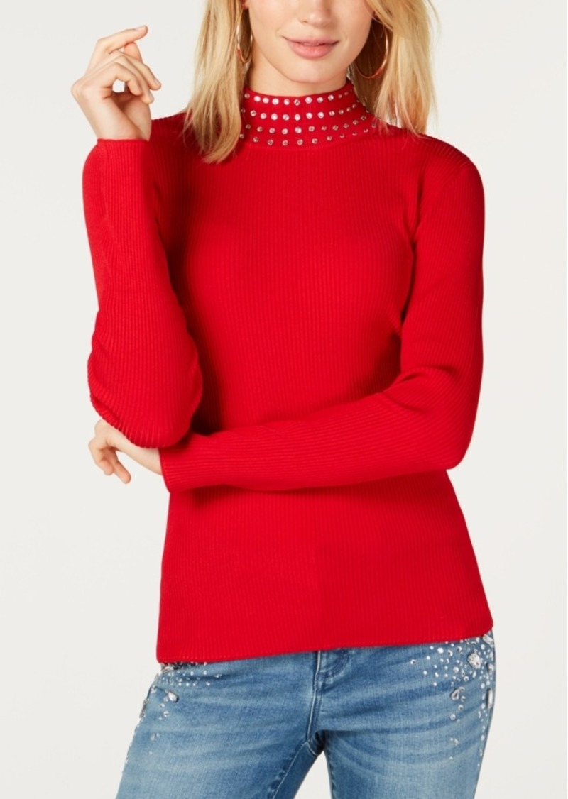 INC International Concepts Inc Embellished Ribbed-Knit Turtleneck, Created for Macy's
