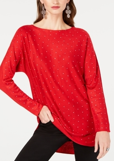 INC International Concepts Inc Embellished Shirttail Sweater, Created for Macy's