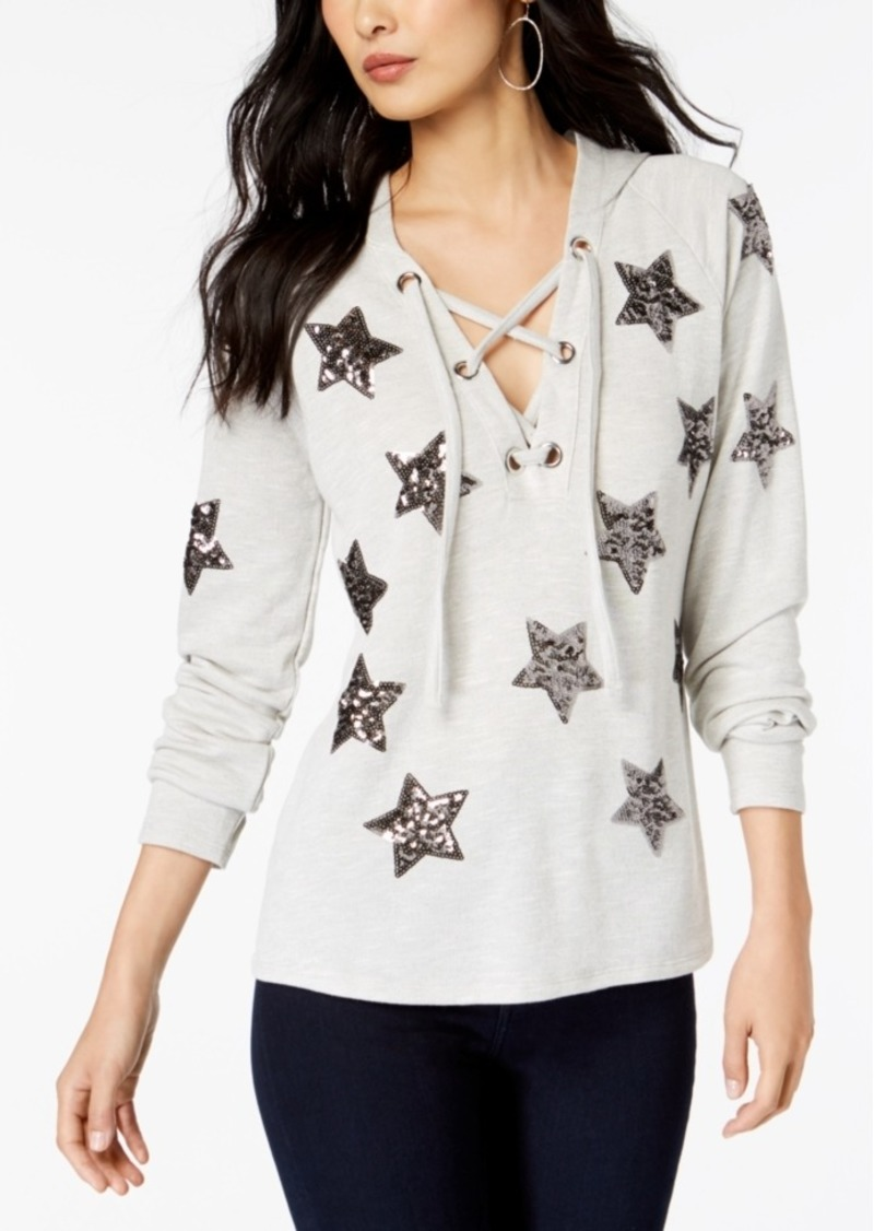 INC International Concepts Inc Embellished Star Hoodie, Created for Macy's