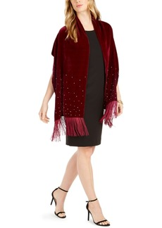 INC International Concepts Inc Embellished Velvet Wrap with Fringe, Created For Macy's