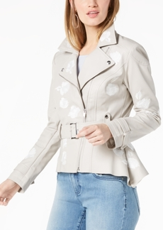 I.n.c. Embroidered Faux-Leather Moto Jacket, Created for Macy's