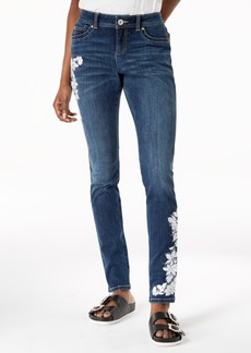 I.n.c. Curvy-Fit Embroidered Skinny Jeans, Created for Macy's