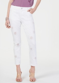 INC International Concepts Inc Eyelet Cropped Curvy-Fit Boyfriend Jeans, Created for Macy's
