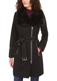 INC International Concepts I.n.c. Faux-Fur-Collar Belted Faux-Leather-Trim Coat, Created For Macy's