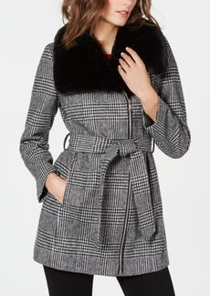 INC International Concepts I.n.c. Faux-Fur-Collar Belted Plaid Coat, Created for Macys