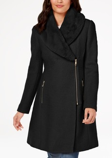 INC International Concepts I.n.c. Faux-Fur-Trim Asymmetrical Walker Coat, Created for Macy's