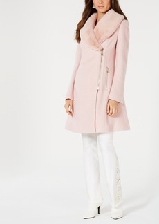 INC International Concepts Inc Faux-Fur-Trim Asymmetrical Walker Coat, Created for Macy's