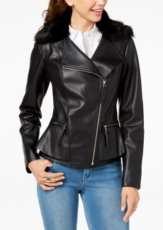INC International Concepts I.n.c. Faux-Fur-Trim Peplum Moto Jacket, Created for Macy's