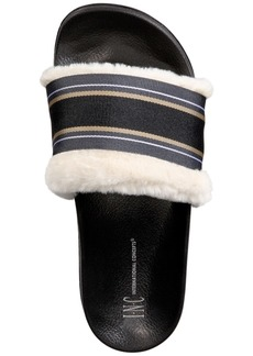 INC International Concepts I.n.c. Faux-Fur Varsity Slide Slippers, Created for Macy's