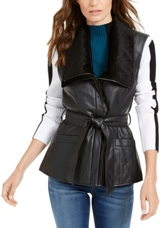 INC International Concepts Inc Faux-Leather Moto Vest, Created For Macy's