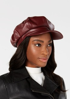 INC International Concepts I.n.c. Faux-Leather Newsboy Cap, Created for Macy's