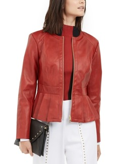 INC International Concepts I.n.c. Faux-Leather Peplum Jacket, Created For Macy's