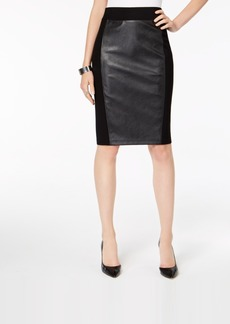 INC International Concepts I.n.c. Faux Leather Ponte-Knit Pencil Skirt, Created for Macy's