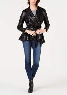INC International Concepts I.n.c. Faux-Leather Rhinestone-Trim Trench Coat, Created for Macy's